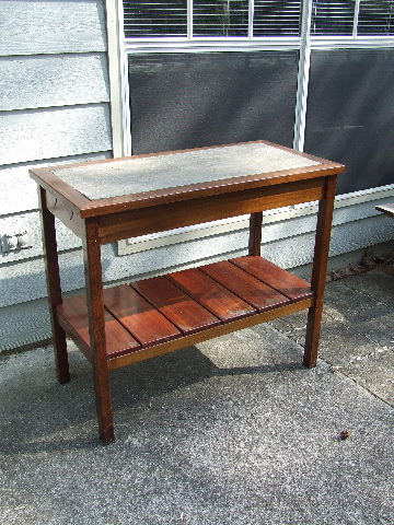 Slate Topped Outdoor Brazilian Walnut Table Plant Stand A Base Of Silestone Top Excellent